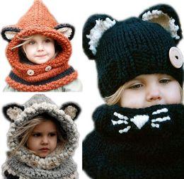 Wholesale Kids Knit Fox Hat - Fox Headgear Knitting Wool Kids Beanies Baby Infant Crochet Girl Cap For Boy Warm Hat Child Winter Hat Baby Thick Accessories