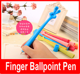 Wholesale Finance Cartoon - Korean Creative stationery Creative cute cartoon ballpoint pen to bend finger gesture pen 0.5mm 12 Models