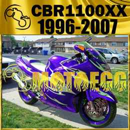 Wholesale Cbr Fairing Kit Purple - Motoegg Injection Mold Fairings For Honda CBR1100XX CBR 1100 XX Blackbird 96-07 1996-2007 Body Kit Purple White Flames H11M542+5 Free Gifts
