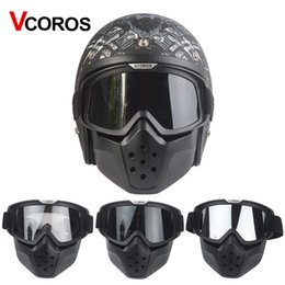 Wholesale Vintage Plastic Mask - VCOROS brand vintage Detachable Goggles Mouth Filter retro mask Half Open Face Motorcycle Helmets mask cosplay prop goggles