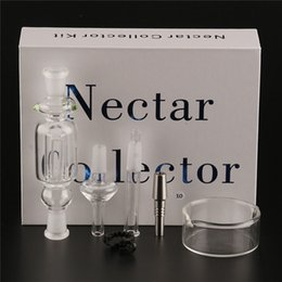 Wholesale Titanium Clips - Honey straw Nectar Collector kit 10mm14mm 18mm Glass water pipes bong titanium quartz Joint Oil Rigs rig Ash Dabs Hookahs With clip