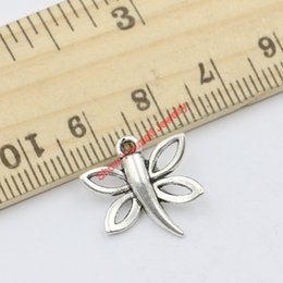 Wholesale Dragonfly Butterfly Jewelry - 20pcs Tibetan Silver Plated Dragonfly Butterfly Charms Pendants for Jewelry Making DIY Handmade Craft 17x16mm D201 Jewelry making DIY