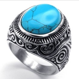 Bague pierre pour homme en Ligne-Men's Oval Turquoise Gem Stone Stainless Steel Finger Ring US Size 7 8 9 10 11 12 13