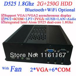 Wholesale Mini Pc Intel Atom Dual - Wholesale-Hottest small computer mini pc with 2 VGA 6 COM Intel Atom D525 dual core 1.8Ghz 2G RAM 250G HDD with 3G Module WiFi Bluetooth