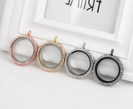 Wholesale Steel Pandora Charms - New Austrian Crystal Pandora Accessories Floating Locket Charms Round Pendant For Necklace Bracelets Stainless Steel Jewelry Free Shipping