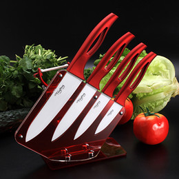 """Wholesale Ceramic Cook Set - TINGITNG ceramic knife set 6 """"5"""" 4 """"3"""" with peeler and acrylic knife holder stand kitchen knives cooking tools beauty gift red"""