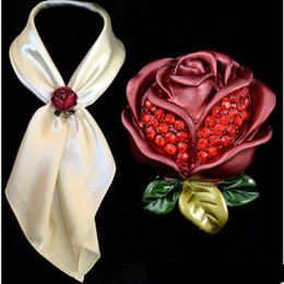 Wholesale Dual Brooch - Fashion 3D Red Rose Scarfs buckle Dual Scarves Clip Brooch Crystal pins brooches For Women girls Christmas gifts