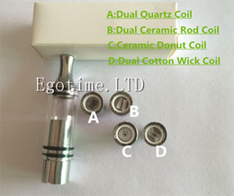 Wholesale E Solids Wax - HOT!!! Vhit wax Glass Globe atomizer ceramic donut no coil no wick wax quartz Coil e solid tank waxy concentrated oil vaporizer Glass tank