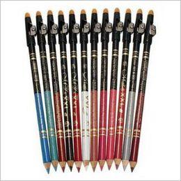 Wholesale Eyebrow Pencil Sharpener - 12 colors makeup eyeliner pencil with sharpener eyebrow beauty pen eye liner lip sticks cosmetics eyes makeup