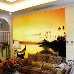 Wholesale Free Scenery Wallpapers - Rivers and Boat Wall Mural photo wallpaper Large Wallpaper Art Home Decor Natural scenery Bedroom Hallway Childrens Rooms Free shipping