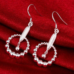 Wholesale Silver Earring Pure - Many Beads Big Circles Dangel New Summer Style 925 pure silver Drop earrings e596 Fashion Jewelry