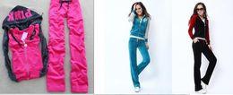 Wholesale Velvet Sportswear - Shipping ship Track Suit women girl high Quality Velvet PINK Tracksuits sportswear set