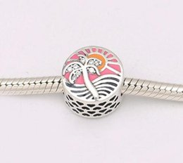 Wholesale genuine pandora bracelets - Genuine 925 Sterling Silver Pink Enamel Coconut trees Clear CZ Charm Bead Fit pandora European Bracelet Jewelry