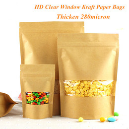 Wholesale Kraft Paper Pouches Wholesale - High Quality Thicken Stand Up Kraft Paper Ziplock Bag with HD Window Food Packaging Moisture-proof Pouch Bag