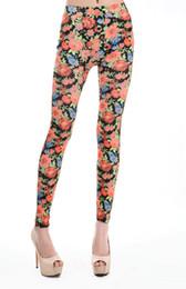 Wholesale Cheap Plus Leggings - Drop Shipping Hot Floral Printed Leggings Black supernova sale Elastic Skinny Pants Cheap Price women legging plus size FG1510