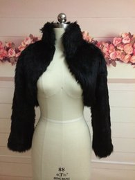 Wholesale Bridesmaids Shawls Wraps - Fashion Black Faux Fur Coat Bridal Wrap Long Sleeve Jacket Shawl Cape Stole Bolero Ivory Fake Fur Bridesmaids Cape