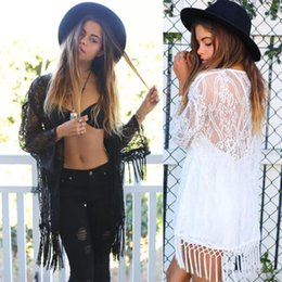 Wholesale Brown Puff - Fashion Women Spring Crochet Kimono with Tassels White Tulle Lace Transparent Blouse Long sleeve loose sexy Shirts
