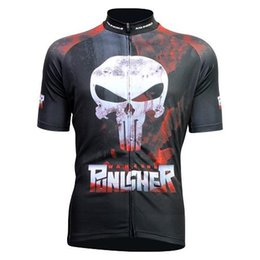 Wholesale Women Bicycle Shorts Xl - 2015 Newest Cartoon Punisher Skull Cycling Jerseys Short Sleeves Shirts Summer Road Bicycle Cycling Wear High Quality Black Tops For Men