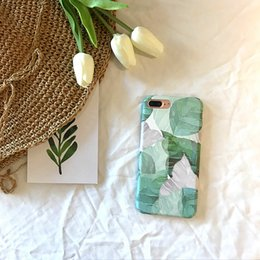 Wholesale Leaf Card Pocket - 2017 Ultra Slim Leaf Case For iPhone 7 6 6S Plus Painted Green Leaves Pattern Phone Case Hard PC Full Back Cover Coque