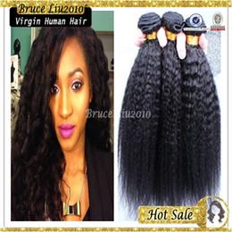 "Wholesale Cheap Human Yaki Hair - 8A cheap Mongolian Virgin Hair Straight Coarse Yaki Human Hair Weaves Yaki 8""-30"" Natural Black Kinky Straight Hair 300g lot free shipping"