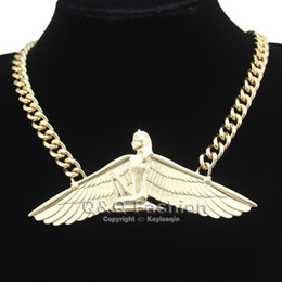 Wholesale Egyptian Wings - Fab Egyptian Goddess Isis Ankh Wing Chunky Choker Curb Chain Necklace Bib Wicca Pagan Jewelry Free Shipping