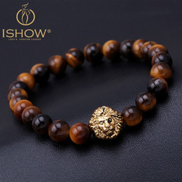Wholesale Tiger Stone Rings - Tiger Eye Lion Head Bracelet Buddha beads Bracelets Bangles Charm Natural Stone Mens Bracelet 2015 Men Jewelry pulseras hombre
