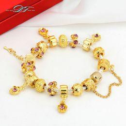 Wholesale European Lock Key - European Style Yellow Gold Plated Beads Love Heart Lock+Key Charm Bracelets &Bangles Vintage DIY Fashion Jewelry for Women PH016