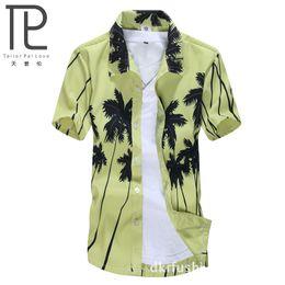 Wholesale Hawaiian Shorts - Wholesale-Hawaiian Beach Shirt Men quick-drying short-sleeved shirt Coco Trees palm printing Summer beach floral camisa Leisure ST22