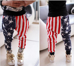Wholesale Loose Cool Trousers - 2016 kids Boys American flag Pants AB star stripe Flags Pant trousers Baby Spring Long leggings Pants Cool Baby children fashion 5pcs lot