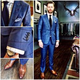 Squisiti legami di nozze online-Nuovo Arriva Abiti da uomo da sposa Slim Fit Grid Handsome Exquisite Groom Tuxedos 3 Pezzi Suit Bridgroom (Jacket + Pants + Tie) Handsome