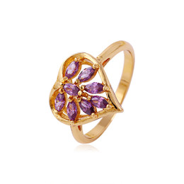 Wholesale Mixed Order Rings For Women - Xuping Mix Order Color Zirconia Cluster Ring For Women 18k Gold Plated Heart Shape Copper Jewelry Ring From Wholesale DH-2-11433