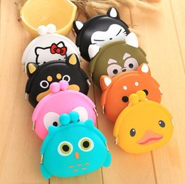 Wholesale Small Silicone Purses - women fashion brand baby girls coin purses cats cute animal coin purses prints silicone bag small wallets children owl coin bank