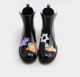 Wholesale Pvc Wellies - 2017 Fashion PVC Ankle Rain Boots Women Female Waterproof Cartoon Animals Rainboots Water Shoes Woman Wellies Short Rain Boots