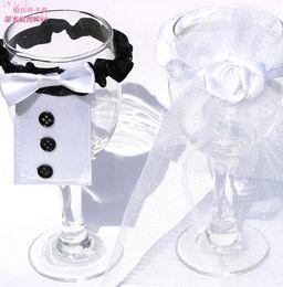 Wholesale Bridal Suits Men - Wedding Decorations champagne flutes cup Decorations band holders Men bridegroom suit women Bridal Gowns party supplies gift 50pcs