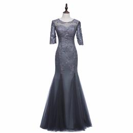 Vestido de madre de la novia de raso y tul gris con sirena de raya 3/4 con apliques de encaje Vestido con cremallera en la espalda de las mujeres desde fabricantes