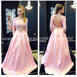 Wholesale Modern Marine - 2015 Two Piece Pink Satin Prom Dresses with Bateau Neck Long Sleeve Keyhole Backless Crop Top Marine Ball Pockets Gowns Plus Size Cheap