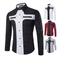 Wholesale Double Button Shirts - New Mens Long Sleeved Dress Shirts Double Collar Button Unique Design Slim Fit Brand Shirts Double color stitching