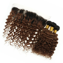 Castaño malayo crespo online-8A malasia Ombre Auburn Hair Bundles con cierre frontal de encaje Deep Wave Curly 2 tono 1B / 30 Ombre Hair teje con frontal