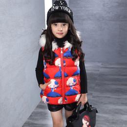 Wholesale Girls Vest Fur Collar - Wholesale-2016 new girls vest fur collar hat casual sweet princess cartoon printed vest