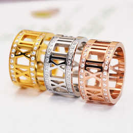 Wholesale Roman Wedding - Fashion Crystal Roman Numbers Ring Silver Rose Gold Stainless Steel Wide Rhinestone Roman Numbers Rings Jewelry For Women