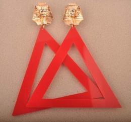 Wholesale Earring Big Triangle - European Fashion Jewelry Personality Metal Gold Pharaoh Big Acrylic Triangle Stud Earrings For Women Hot Wholesale