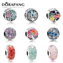 Wholesale pink lampwork - DORAPANG The sea Paragraph Charms Bead Fit Bracelets 100% 925 Sterling Silver Glass beads DIY bracelet The factory wholesale