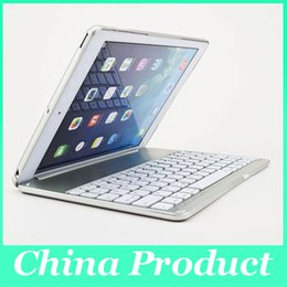 Wholesale keyboard for ipad air - Ultra Thin Alumium Folio Shell ABS Wireless Bluetooth Backlit Keyboard Carrying Case Colorful Backlight for Apple iPad Air 010242