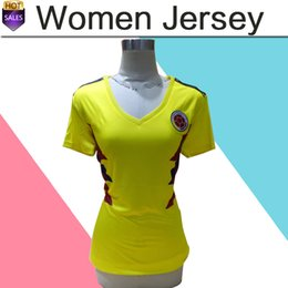Wholesale Girl Teams - 2018 world cup Colombia women National Team Jersey Colombia Home yellow female Soccer Jerseys 2018 world cup #10 JAMES girl Football Shirt