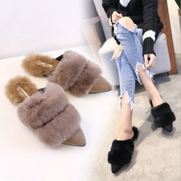 Wholesale Black N Tan - 171108002 2017 Fashion Women Real Fur Shoes Genuine Leather Womens Slipper Flats Female Casual Slip On Loafer Flats For Women Cozy Shoes