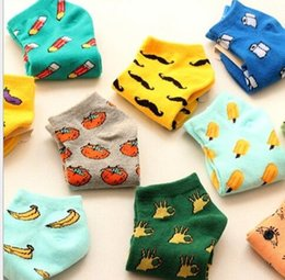 Wholesale Character Socks - Cartoon Socks Ladies Sock Character 3D Fruit design socks Teenagers Autumn Winter Cute Low Cut Socks KKA3268