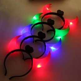 Wholesale Led Fancy Lights - Ox Horn Headband Halloween LED Light Up Hair Hoop Four Colors Plastic Head Band Costume Fancy Party Accessories 1 19by B