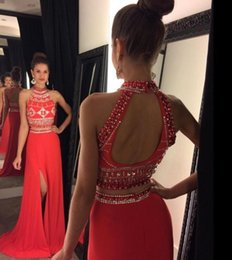 Wholesale Dress Side Open Halter - 2016 Cheap Two Pieces Prom Dresses High Neck Crystal Beading Long Black Red 2 Pieces Open Back Split Formal Party Dress Evening Gowns