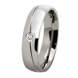 Wholesale Titanium Zircon Rings - ORSA 2017 Trendy High Quality Titanium Steel Men Women Ring Zircon Wedding Titanium Ring Jewelry OTR30