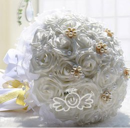 Wholesale Silk Wedding Bridesmaid Bouquets - 2015 New 5 colors Bridal Wedding Bouquet Wedding Decoration Artificial Bridesmaid Flower Crystal Pearl Silk Rose for Vintage Wedding 2014